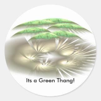 ¡Su un Thang verde! Pegatina Redonda