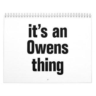 su una cosa de los owens calendario de pared