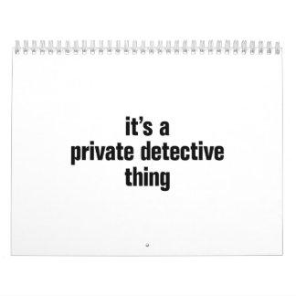 su una cosa del detective privado calendario de pared