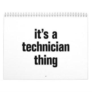 su una cosa del técnico calendario de pared