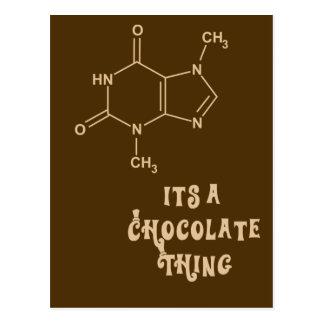 Su una tarjeta divertida de la cosa del chocolate tarjetas postales