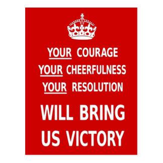 Su valor nos traerá la victoria. El mejor precio Postal