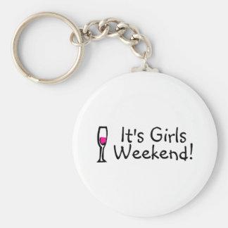 Su vino del fin de semana de los chicas llavero redondo tipo pin
