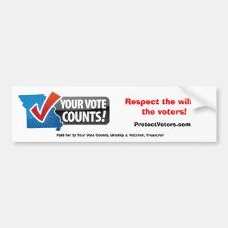 Su voto cuenta a la pegatina para el parachoques pegatina para auto
