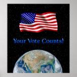 Su voto cuenta la bandera y la tierra - poster de