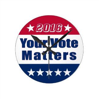 Su voto importa la elección 2016 del | reloj redondo mediano
