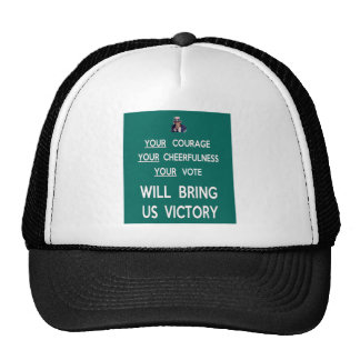 Su voto nos traerá la victoria gorros