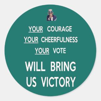 Su voto nos traerá la victoria pegatina redonda