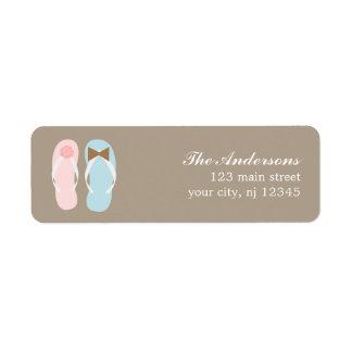 Su y el suyo boda de playa de los flips-flopes etiquetas de remite
