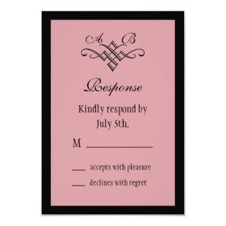 """Su y su monograma que casa RSVP en rosa Invitación 3.5"""" X 5"""""""