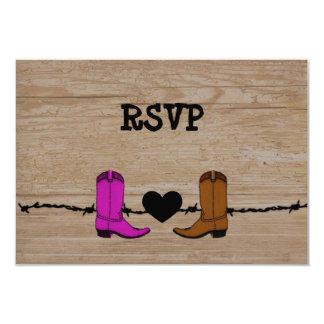 """Su y su recepción RSVP de las botas de vaquero Invitación 3.5"""" X 5"""""""