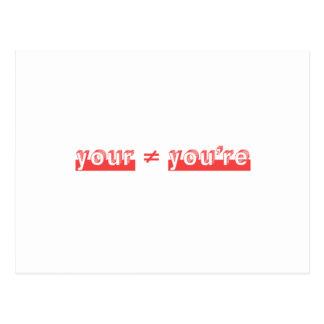 """""""Su"""" y """"usted es"""" es dos diversas palabras Postal"""