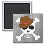Suave Skull Crossbones with Fedora 2 Inch Square Magnet