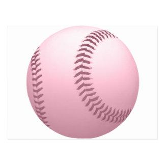 Suavemente béisbol coloreado rosa postales