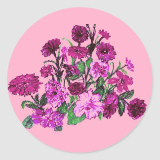 Suavemente el rosa con rosa bonito florece a los pegatina redonda