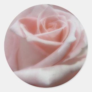 Suavemente palidezca - color de rosa rosado pegatina redonda