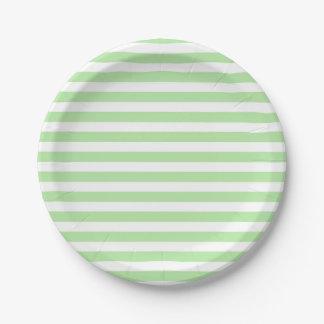Suavemente verde y blanco raya las placas de papel plato de papel de 7 pulgadas