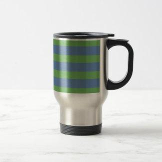 Suavemente verde y modelo rayado del bígaro taza de viaje
