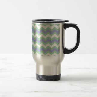 Suavemente verde y zigzags de los azules taza térmica
