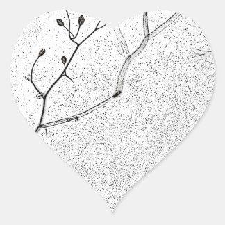 Suavidad del invierno pegatina en forma de corazón