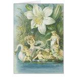 Suavidad - hadas, cisne y flor tarjeta