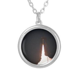 Sub Orbital Rocket Launch Round Pendant Necklace
