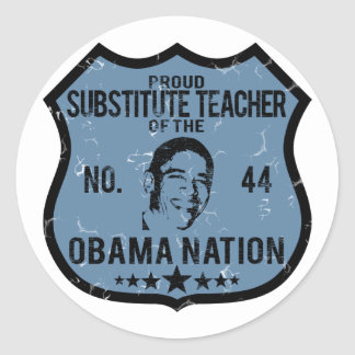 Sub Teacher Obama Nation Classic Round Sticker