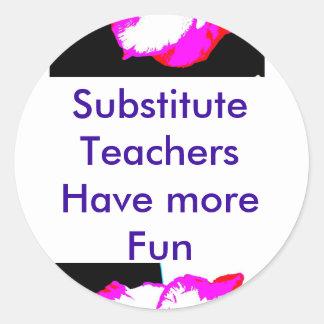 Sub teacher stickers. classic round sticker