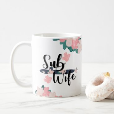 sub wife floral navy submariner coffee mug