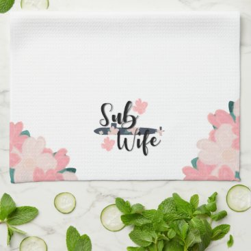 sub wife floral navy submariner  cute submarine hand towel