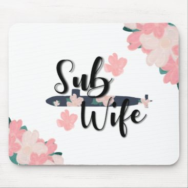 sub wife floral navy submariner mouse pad