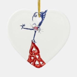 suba cada montaña - dibujo animado del gato, adorno navideño de cerámica en forma de corazón