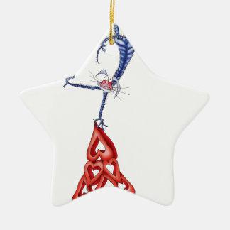 suba cada montaña - dibujo animado del gato, adorno navideño de cerámica en forma de estrella