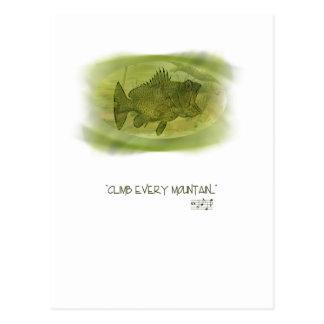 Suba cada postal de la buena suerte de la montaña
