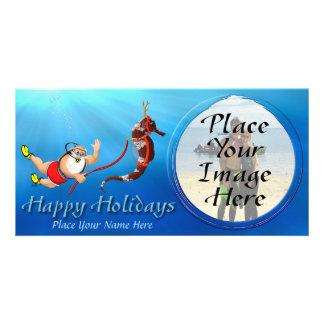 Suba tarjeta de la foto de Santa que se zambulle y Tarjetas Fotográficas Personalizadas