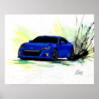 Subaru BRZ Watercolor Painting Poster