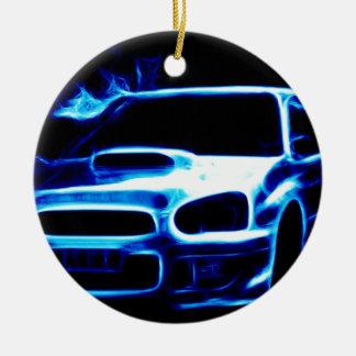 Subaru Impreza Adorno Navideño Redondo De Cerámica