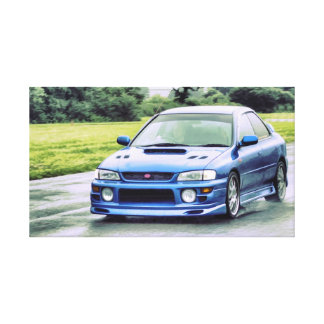 Subaru Impreza Classic Racing in the rain Canvas Print