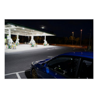 Subaru Impreza P1 night time pit stop on motor way Poster