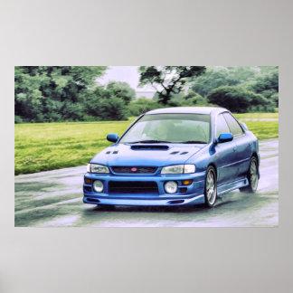 Subaru Impreza racing in the rain Print