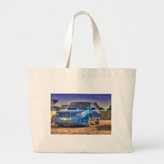 """Subaru Impreza STi """"Hawkeye"""" in Blue Jumbo Tote Bag"""