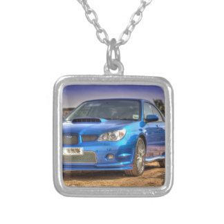 "Subaru Impreza STi ""Hawkeye"" in Blue Square Pendant Necklace"
