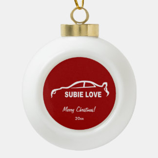 Subaru Impreza WRX STI - Subie Love Ceramic Ball Christmas Ornament