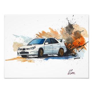 Subaru STi Drift Watercolor Painting Photo Print
