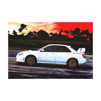 Subaru STi Racing at Sunset Canvas Print