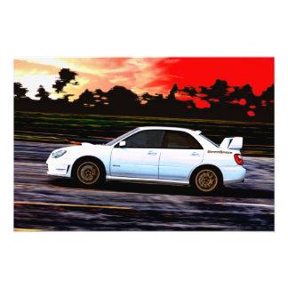 Subaru STi Racing at Sunset Photo Print