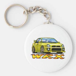 Subaru WRX_yellow Llavero Redondo Tipo Pin
