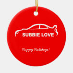 Subbie Love White Silhouette Logo Double-Sided Ceramic Round Christmas Ornament