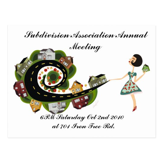 Subdivision Association Annual Meeting Postcard