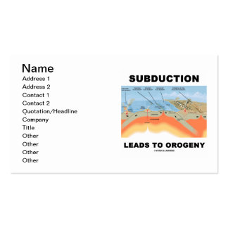 Subduction Leads To Orogeny (Mountain Building) Business Card